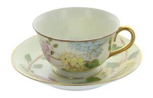 Vintage-Ohata-China-Occupied-Japan-Floral-Pattern-Gold-Trim-Tea-Cup-amp-Saucer