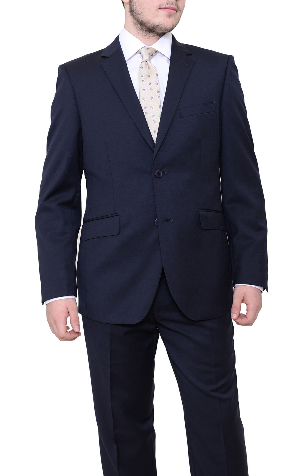 Mens 50L Ideal Slim Fit Solid Navy Blau Two Button Wool Suit