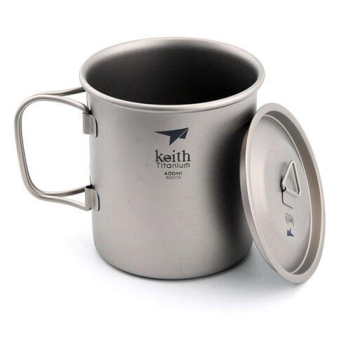KEITH 400ml Titanium Water Cup  Picnic Camping Cookware Hiking Titanium Mug