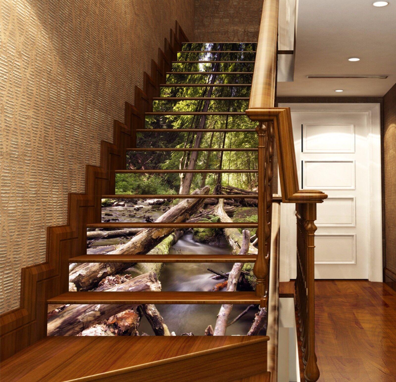 3D River Wood 543 Stair Risers Dekoration Foto Mural Vinyl Decal Wallpaper UK