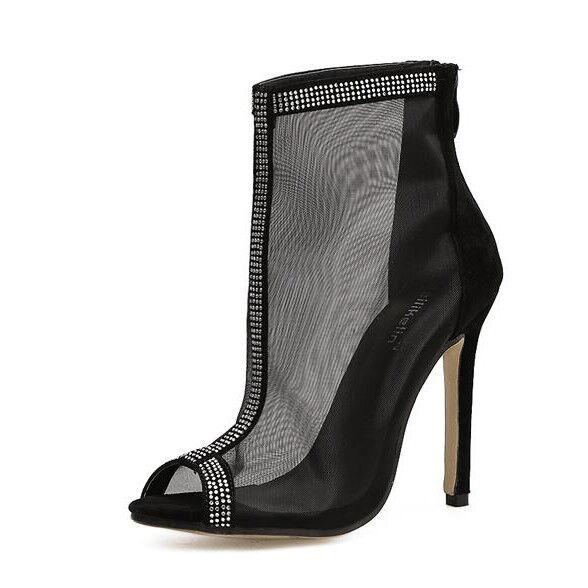 Sandalei pelle pelle Sandalei stivali estivi tacco stiletto 11 cm nero simil pelle ... 69535b