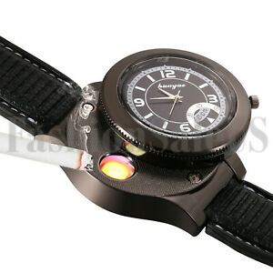 Military-Infantry-Round-Dial-Quartz-Watch-USB-Cigarette-Cigar-Flameless-Lighter