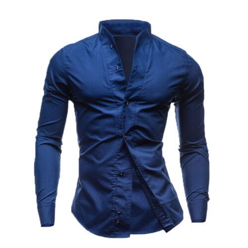 Mens Luxury Casual Tops Formal Shirt Cotton Long Sleeve Slim Fit Dress Shirts