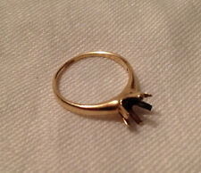 Vintage 14K Gold Ring Round Solitaire Setting Mount - 6 Prong