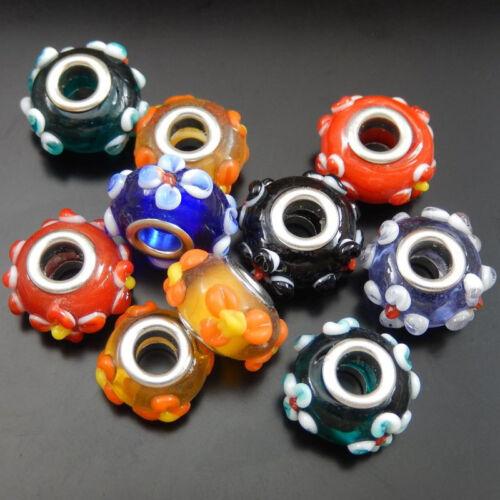 10pcs coloré Perles de Verre Motif Bracelet Jewelry Making Crafts 16*9mm