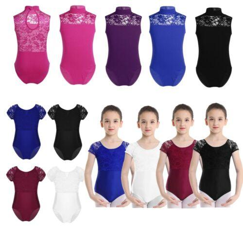 Girls Short Sleeves Ballet Dance Costumes Child Leotards Sport Training Bodysuit
