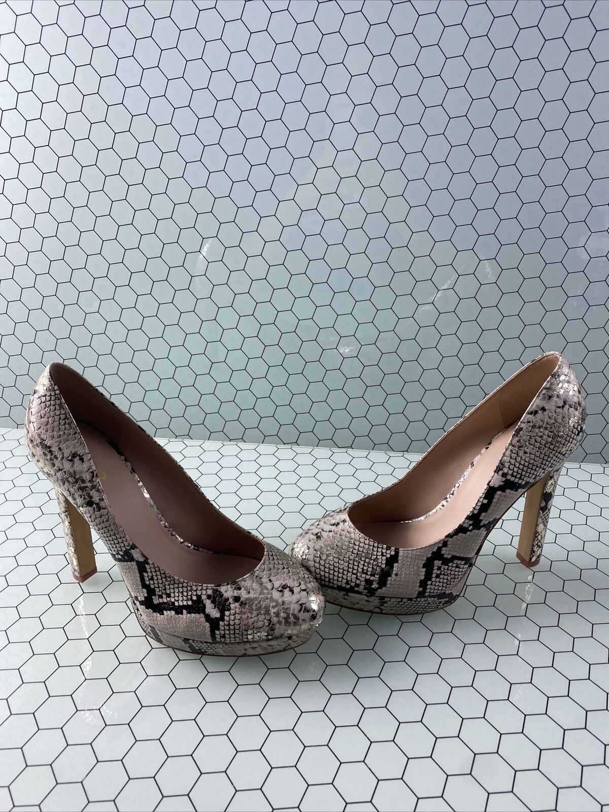 ALDO Metallic Snake Print Leather Round Toe Slip On High Heels Women's Size 9