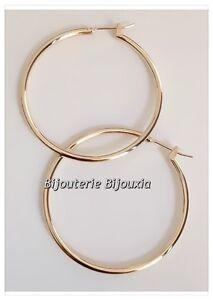 Boucles-D-039-oreilles-Creoles-4cm-Plaque-Or-18-CARATS-Bijoux-Femme