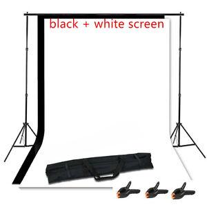 Photography Studio Black+White Backdrop Background Photo Stand Muslin Kit Set OY