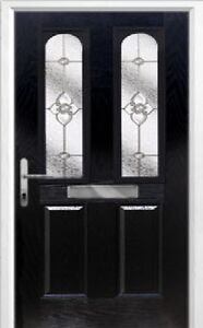 2 Panel 2 Arch Finesse Composite Front Door in Black Various sizes