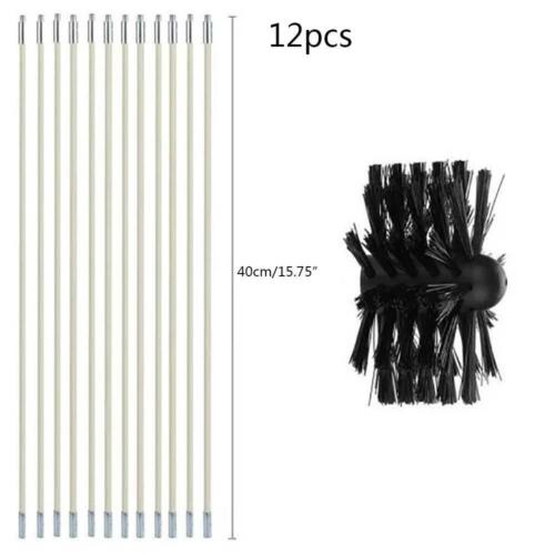 Chimney Pipe Sweeping Brush Flue Cleaning Brush /& Rod Kit Soot Cleaning Rods Set