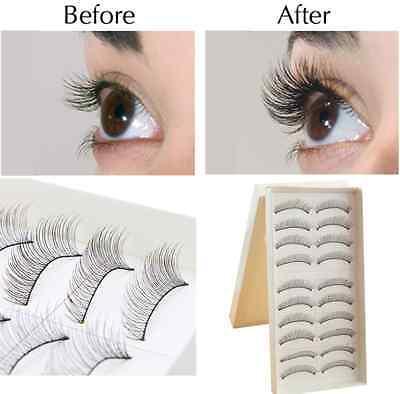 BEST~10 Pairs Fashion Beauty Makeup Handmade False Natural Long Eye Eyelashes