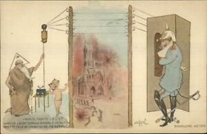WWI-Propaganda-Burning-Reims-Cathedral-Kaiser-Telephone-Heaven-Postcard-G19