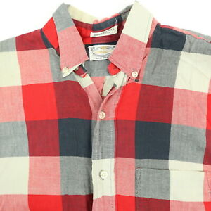 Vtg-50s-60s-Carnegie-III-Shirt-Mens-SMALL-Tapered-Casual-Button-Down-Red-Gray