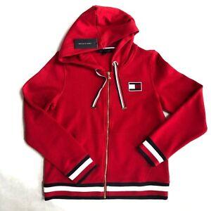 NWT Women s Tommy Hilfiger Red Blue Sweatshirt Polkadot Zip Up ... 49307cee30