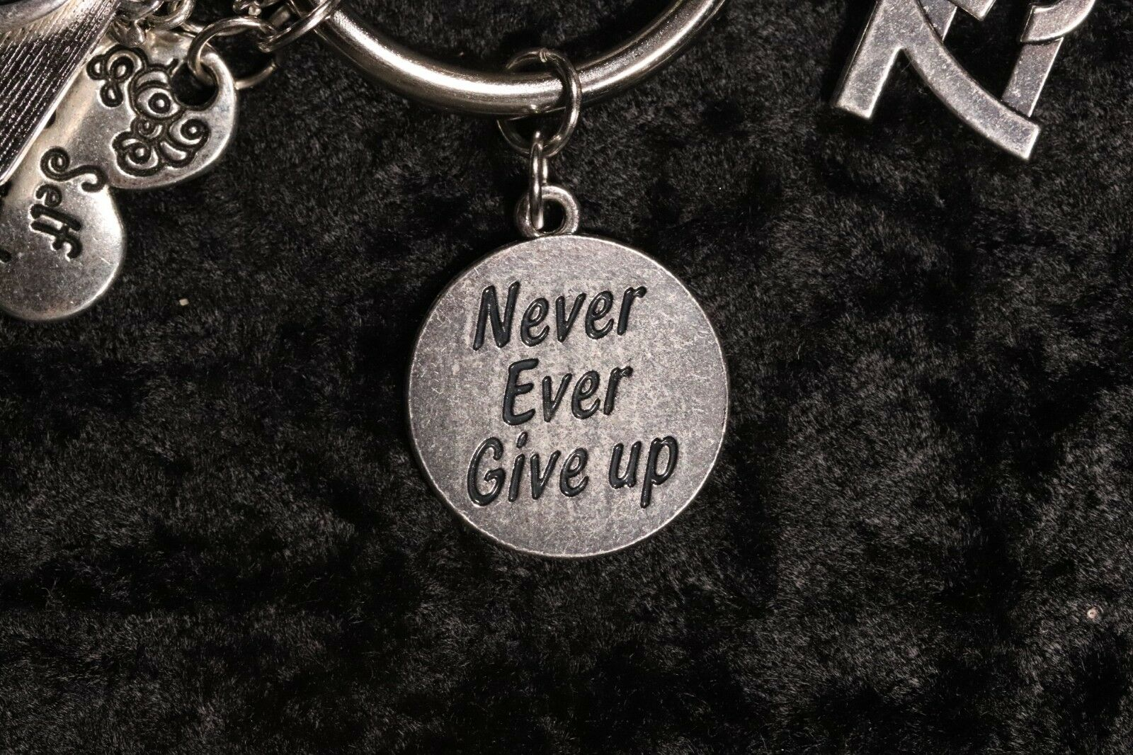 """""""Never Ever Give up"""" – Motivation Weight Loss Charm for Weight Watchers Ring s l1600"""