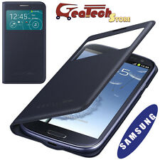 Flip Cover S View Originale Per Samsung Galaxy S3 Neo I9301 Custodia Smart BLU