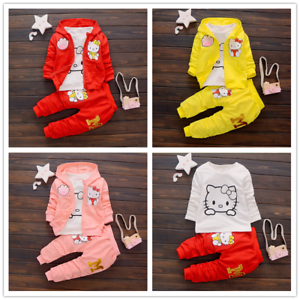 3pcs Toddler Infant Girls Cartoon Outfits Hooded Coat+T-shirt+Pants Cotton Sets