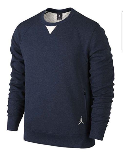 NIKE Air Jordan Dark Blue Fleece Crew Neck Sweatshirt NEW Mens M L XL