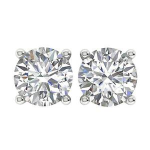 SI1-Solitaire-Studs-Earrings-1-01Ct-Natural-Diamond-14K-White-Yellow-Rose-Gold