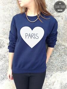 Paris Cute Jumper Sweater Top Love Heart Tumblr Hipster