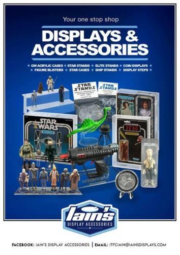 NUOVISSIMA 50x Nero Rettangolare Vintage Star Wars Action Figure Display Stand
