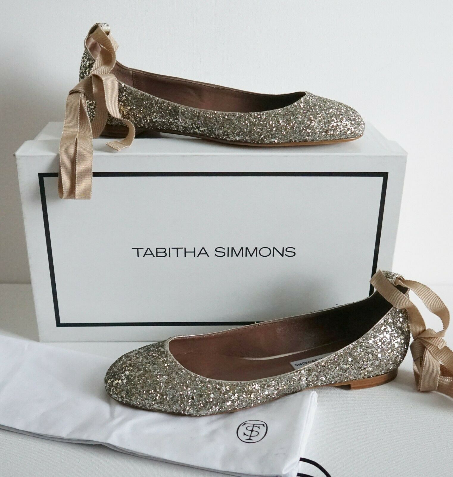 NIB Authentic TABITHA SIMMONS DARIA GLITTER Ballet Flats shoes EUR-38 US-8