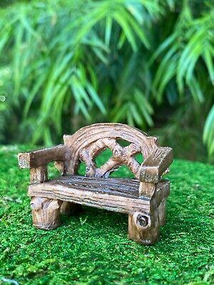 Miniature Dollhouse FAIRY GARDEN Furniture ~ Small Resin Wood Look Resin Bench