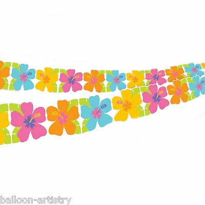 2.43m Tropical Luau Party Paper Hibiscus Flower Cutout Garland Decoration