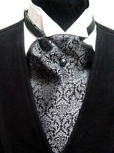 Cravat-Ascot-Wedding-Old-West-Vintage-Victorian-style-tie-Black-Gray-new