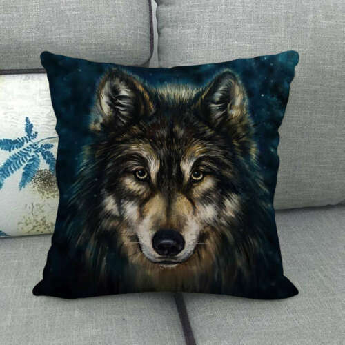 Home Decor Throw Pillow Case Dark Moon Night Animals Wolves Couch Cushion Cover