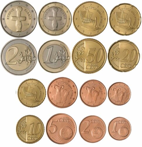 Cyprus Cyprus Zypern Chypre 2016 set UNC eurocoins from bank roll 8 coins