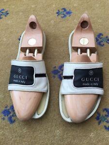 d7a29d763a7 Gucci Mens Sandals Flip Flop White Canvas Leather Shoes UK 10 US 11 ...