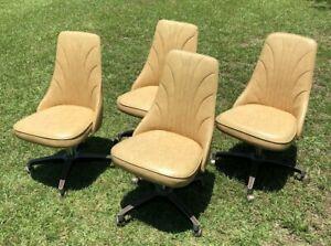 Vintage Padded Swivel Chairs Mid Century Tan Set Of 4 Kitchen Table Retro Ebay