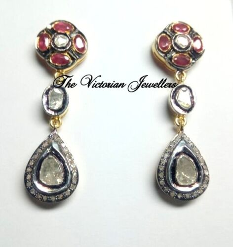 andmade Victorian Designer Ruby Gemstone With Polki And Diamond Silver Earring