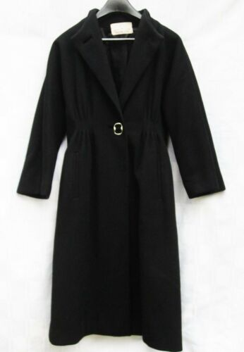 Pauline Trigere Heavy Black Pure Wool Coat Trigère
