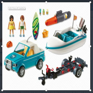 New 6864 Playmobil Surfer Pickup with Speedboat