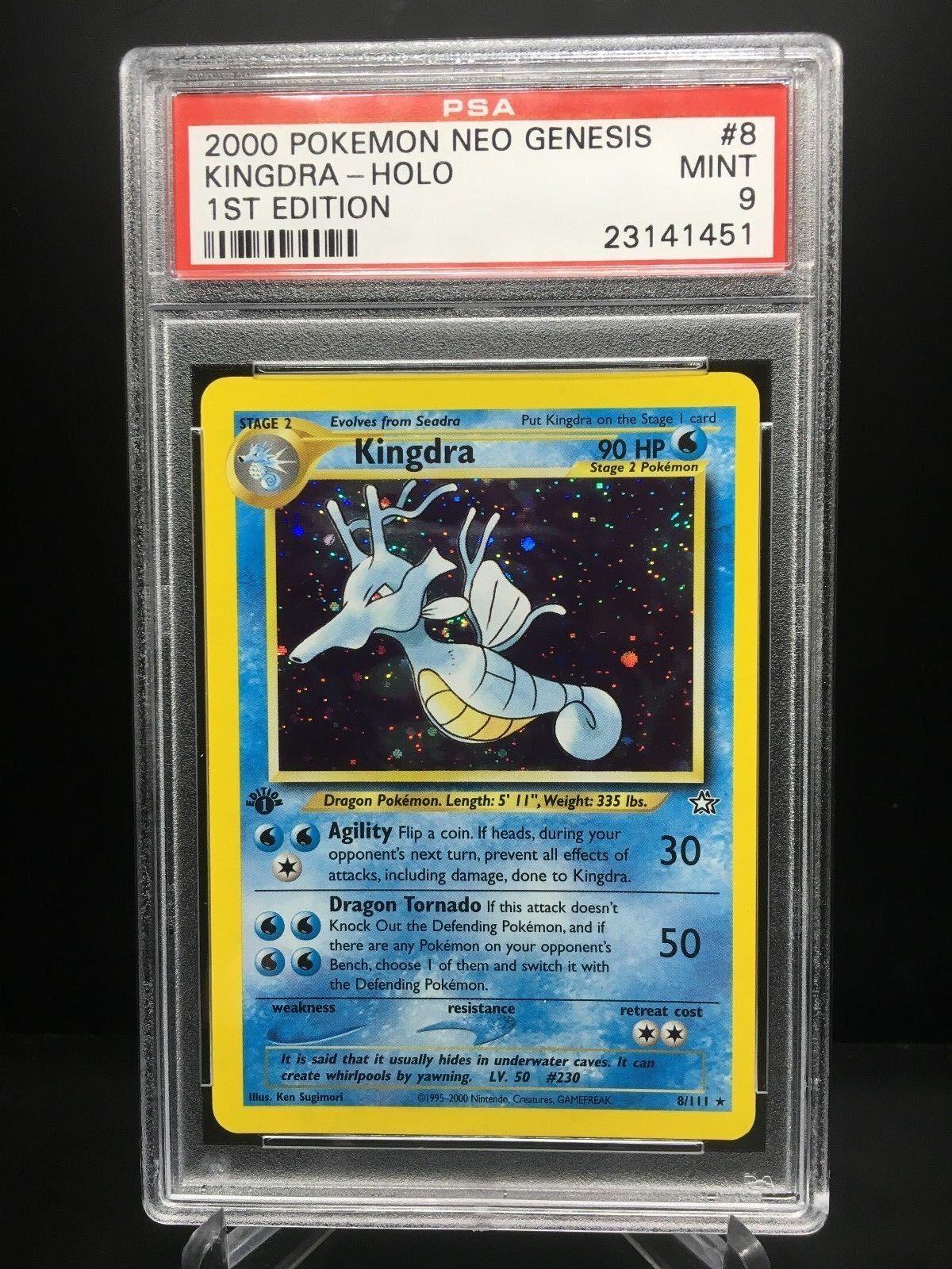 Pokemon - karte  1. ausgabe kingdra holo 2001 neo - genesis hat psa - 9 -