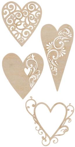 Kaiser Craft Flourishes Dies Cut Wood Pieces Fancy Hearts