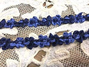 VINTAGE-FRENCH-ROCOCO-SATIN-TRIM-RIBBON-1yd-3-8-034-edge-FLORETTES-Royal-Navy