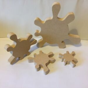 Craft Shapes Set of 4 Wooden MDF Chunky Stacking Flowers 18mm