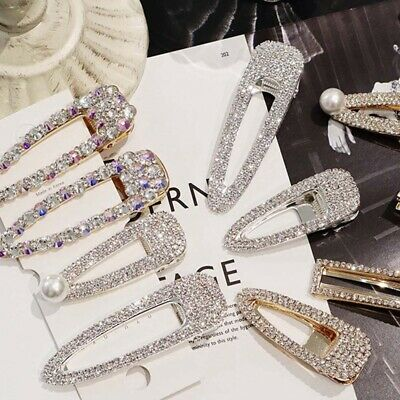 1PC Fashion Girls Crystal Hair Clip Snap Barrette Hairpin Bobby Hair Accessories