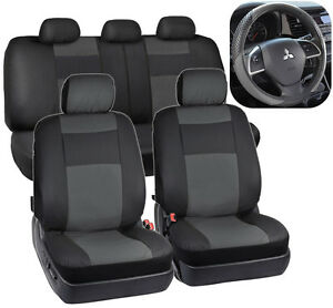 Black & Charcoal Gray PU Leather Seat Covers for Car Auto & Steering Wheel Cover