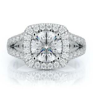 2-Ct-D-VS1-Diamond-Certified-Engagement-Ring-Round-Cut-14k-White-Gold