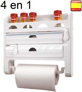 Porta Rollos de Cocina Triple de Pared Aluminio Film Papel Portarrollos 4 EN 1