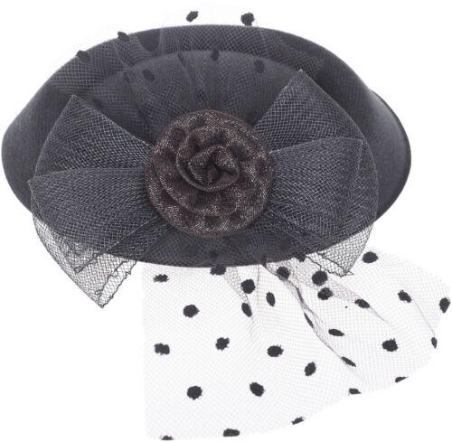 Vintage TORY Flower PEARL Feather Netz PILLBOX Hut HEADPIECE Rockabilly