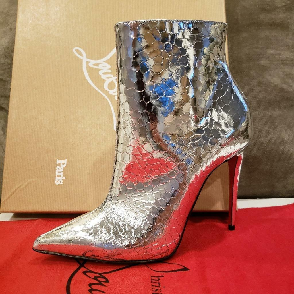 Christian Louboutin SO Stiefel KATE StiefelY 100 Metallic Leather Stiefel SO Heels Silber  1095 be8a1c