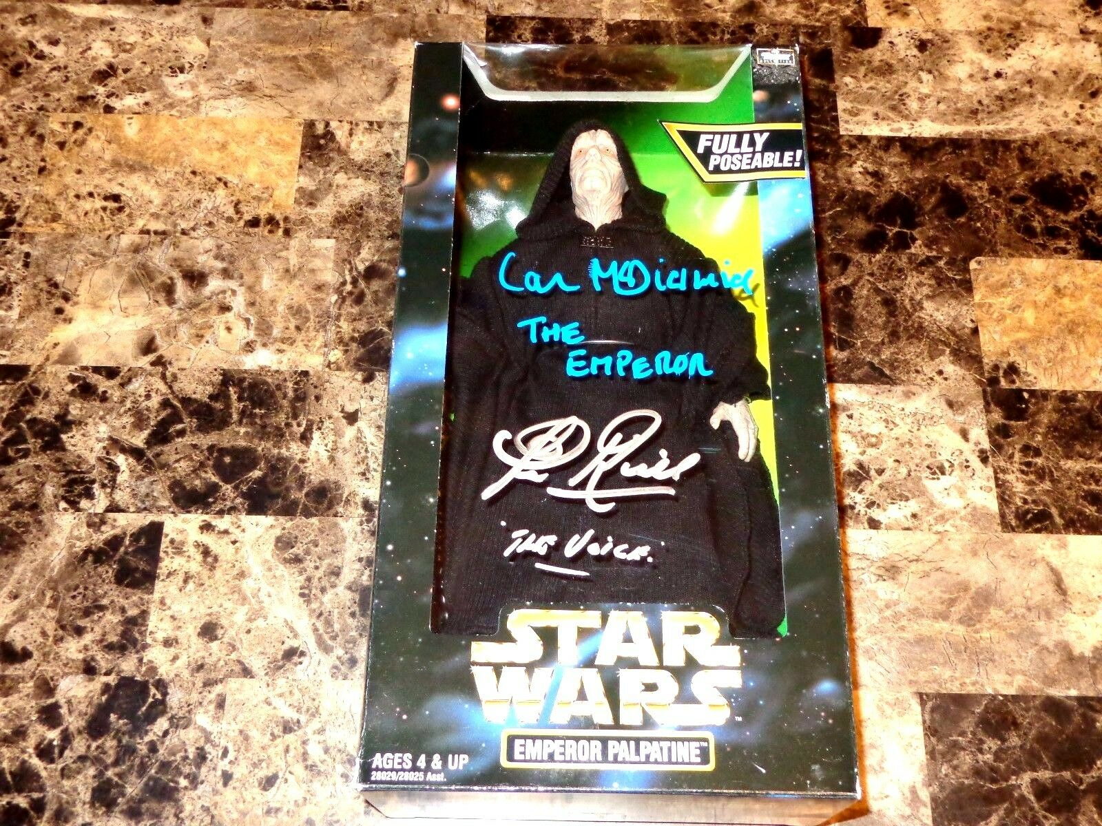 Star Wars Signed Emperor Signed 12  Action Figure Clive Revill AND Ian McDiarmid