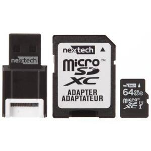 Nexxtech 64GB CLASS 10 MicroSD Memory Card With SD and USB Adapter