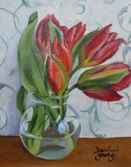 Red Tulips in a Glass Bowl,  8x10, Oil , Darlene Young Canadian Artist